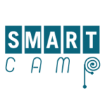 "Icon for SMART CAMP - the word ""smart"" with each letter in its own box over the word ""camp"" which is written in a more handwriting type style with the circle of the p being a spiral"