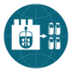 Icon for smart data analytics - a globe with a laboratory with cell cultures on the left, an arrow pointing out of it to the right to four medicine vials